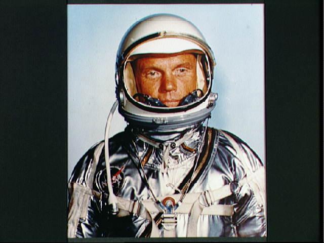 Astronaut John H. Glenn Jr. in his Mercury spacesuit